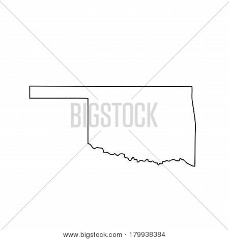 map of the U.S. state of Oklahoma. Vector illustration