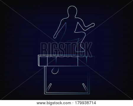 person jumpying over obstacle vector illustration with light streak effect on mesh background concept of overcoming troubles