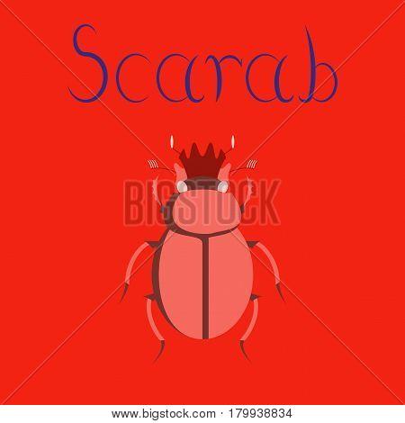 flat illustration on stylish background bug scarab