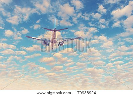 Landing airplane. Conceptual image symbolizing travel industry and tourism