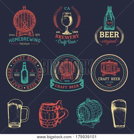 Old brewery logos set. Kraft beer retro signs or icons with hand sketched glass, barrel, bottle, mug. Vector vintage labels or badges.