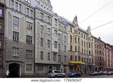 Riga, Matisa street 41-45, Art Nouveau quarter city landscape