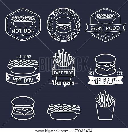 Vector vintage fast food logos set. Retro eating signs collection. Hand drawn burger, hipster sandwich, fried potatoes, hot dog, frankfurter emblems. Bistro, snack bar, street restaurant icons.