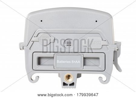 Bottom of a security camera with the battrey holder and mounts