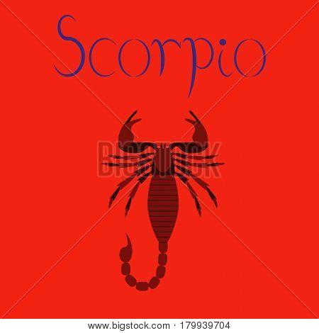 flat illustration on stylish background animal Scorpio