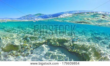 transparent blue sea in Sardinia in Italy