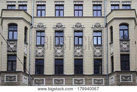 Riga, Matisa street 43, Art Nouveau architect Janis Alksnis, architectural details