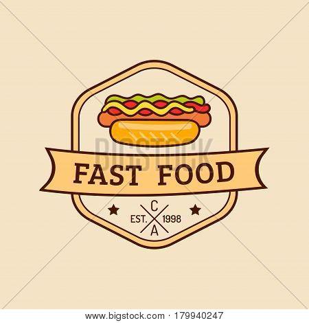 Vector vintage fast food logo. Retro hand drawn hot dog sign. Bistro icon. Eatery emblem with frankfurter. Used for street restaurant, cafe, bar menu design.