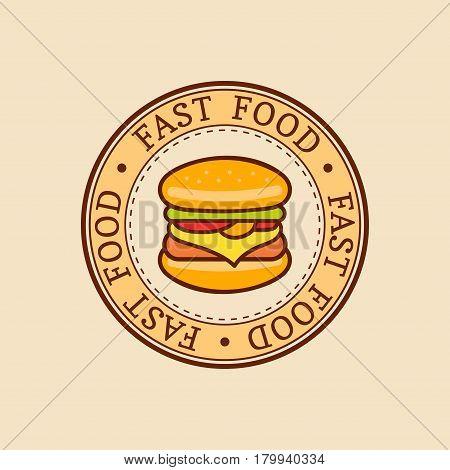 Vector vintage fast food logo. Retro hand drawn burger, hipster sandwich sign. Bistro icon. Eatery emblem for street restaurant, cafe, bar menu design.