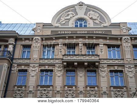 Riga Matisa street 44, Art Nouveau architect Janis Alksnis, architectural details