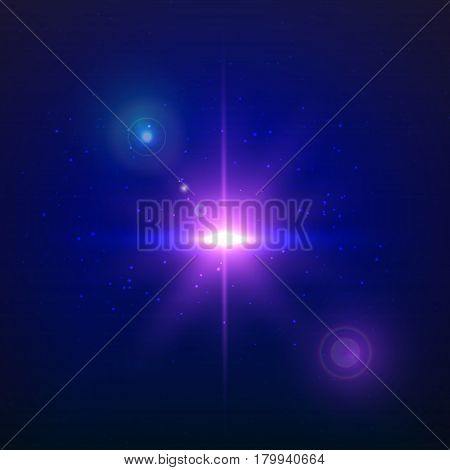 Supernova explosion on a blue background. Vector glowing light effect