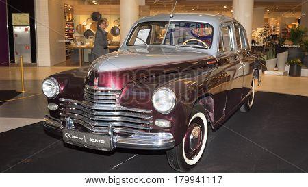 Moscow Russia - April 02 2017: GAZ-M20 Pobeda Soviet Union 1954. Retro car exibition in shopping mall Metropolis.