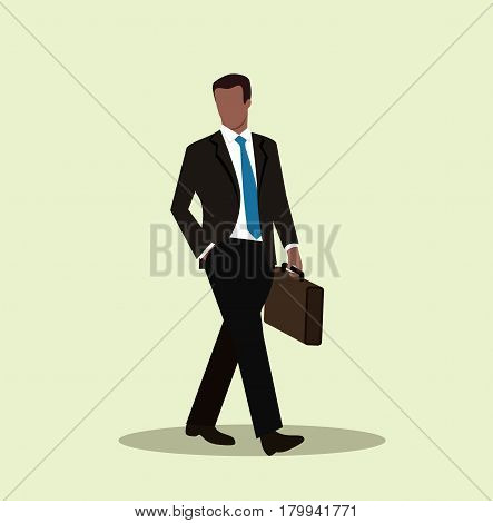African American businessman walking with briefcase. Successful business man. Cartoon character. Vector stock.