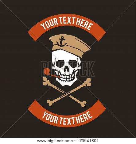 Sailor skull logo design. Vintage logo with skull. Vector stock.