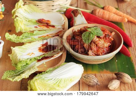 Kimchi of korean food traditional is delicious