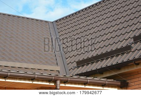 Problem Areas for Rain Gutter Waterproofing. Guttering Gutters Plastic Guttering. Guttering Down pipe Fittings. Rain gutter system and roof protection from snow on house metal roof.