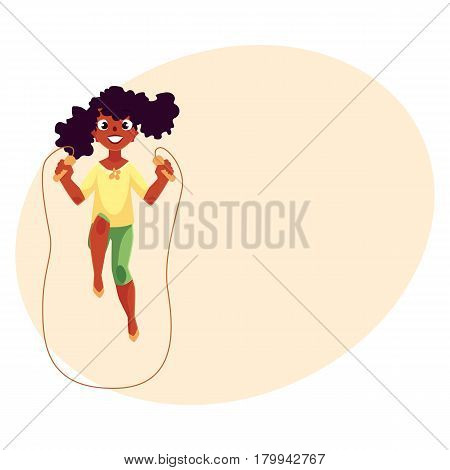 Teenage Caucasian girl playing with jumping rope at the playground, cartoon vector illustration with space for your text. Girl spinning jumping rope, having fun at the playground