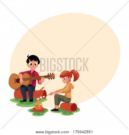 Camping kids - boy and girl playing guitar and frying marshmallow on fire, cartoon vector illustration with space for text. Kids camping, hiking, playing guitar and frying marshmallow