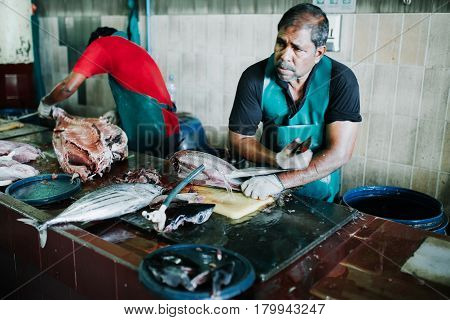 Male, Maldives - December 17, 2016: Fish For Sale At The Fish Market In The City Of Male, Capital Of
