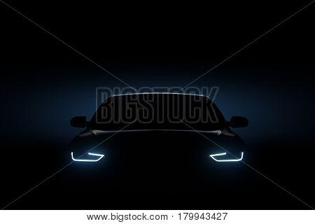 Car Blue Headlights, Shape Concept Art Dark