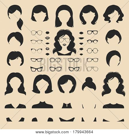 Big vector set of dress up constructor with different woman haircuts, glasses, lips, wear in trendy flat style. Female faces icon creator.