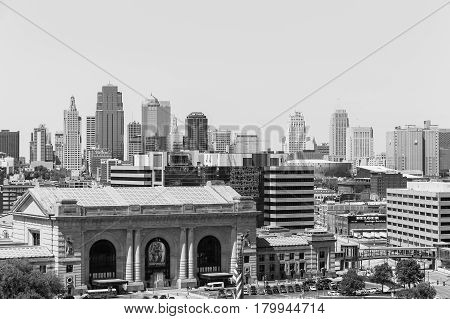 Kansas City Union Station In Monochrome