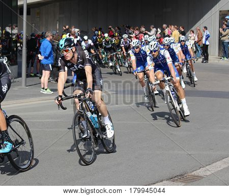 AALST, BELGIUM, APRIL 2 2017: Top cyclist Tom Boonen racing in the Tour of Flanders through the streets of Aalst. It is the most important Flemish cycling event and one of the five monuments of the cycling year.