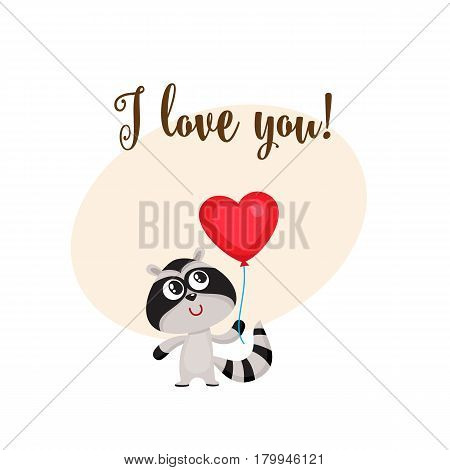 I love you greeting card, banner template with funny raccoon holding red heart shaped balloon, cartoon vector illustration. Cute raccoon holding heart balloon, love postcard, greeting card, banner