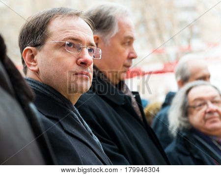 MOSCOW - JANUARY 27, 2015: Russian Minister of Culture Vladimir Medinsky (left) is present at a ceremony marking the start of construction of a new modern cultural center.