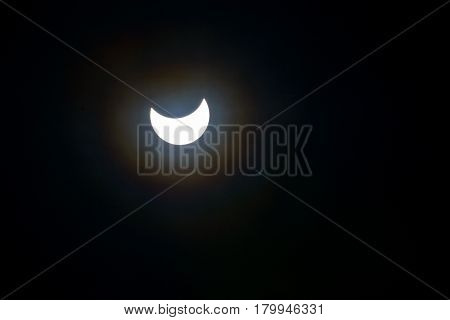Solar eclipse in Moscow, Russia, 20 march 2015. Real photo.