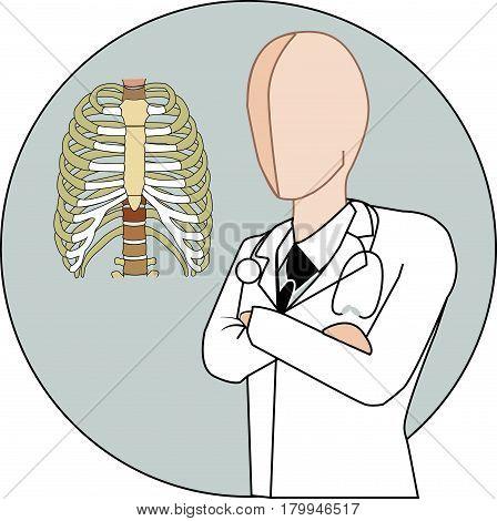 male pulmonologist white gown suit icon vector