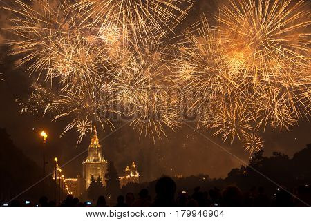 Fireworks over the main building of Moscow State University in Moscow