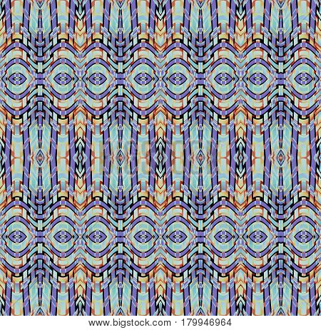 Abstract geometric seamless background. Regular intricate ellipses pattern purple, light blue, yellow and light brown with black outlines, ornate and dreamy.