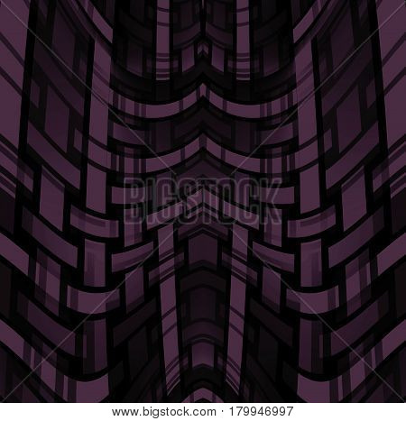 Abstract geometric background. Regular curved stripes pattern in purple and brown shades with black.
