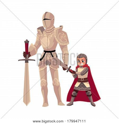Medieval knight in decorated metal suit and his armor bearer, squire, cartoon vector illustration isolated on white background. Full length portrait of medieval heavy armored knight and armor bearer