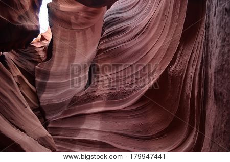 Cool ridges in the walls of Upper Antelope Canyon in Arizona.