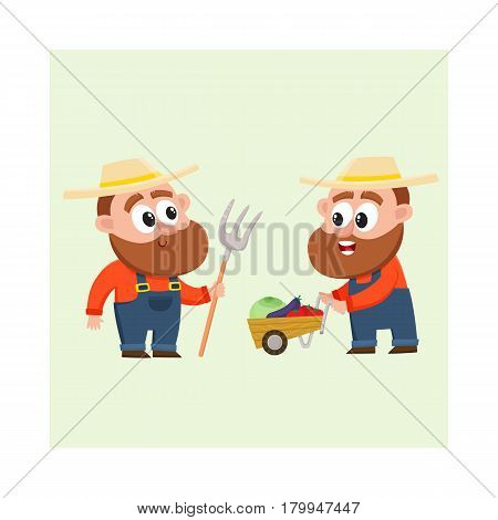 Funny farmer, gardener characters in overalls harvesting vegetables, pushing handcart, holding hayfork, cartoon vector illustration isolated on white background. Comic farmer characters, harvest time