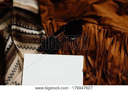 Boho Gypsy Stylish Elements Of Jacket Fringe Sunglasses Notebook And Camera, Fashion Set For Travel