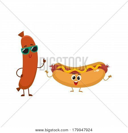 Funny smiling sausage and hotdog characters in sunglasses showing thumb up, fast food concept, cartoon vector illustration isolated on white background. Sausage and hotdog characters, mascots