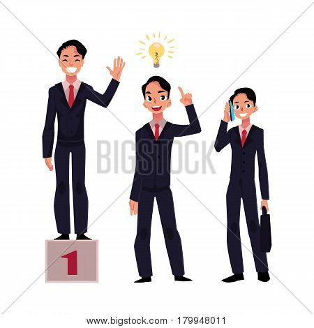Businessman, manager in business suit achieves success, has insight, calls someone to share his idea, cartoon vector illustration isolated on white background. Businessman, success and idea generation