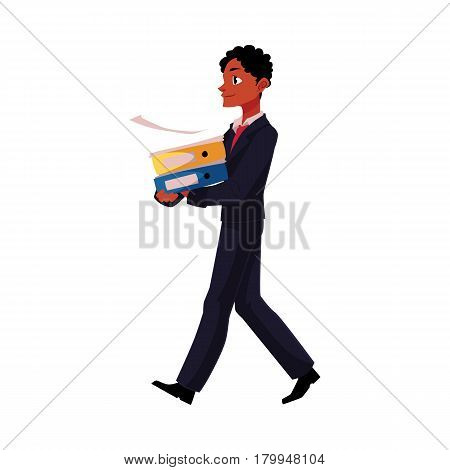 Black, African American businessman going somewhere, carrying folders, cartoon vector illustration isolated on white background. Black businessman with pile of document folders