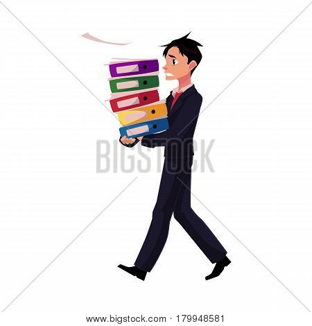 Young businessman overloaded with document folders, stressed out, in rush, cartoon vector illustration isolated on white background. Young messed up businessman with document folders, feeling stressed