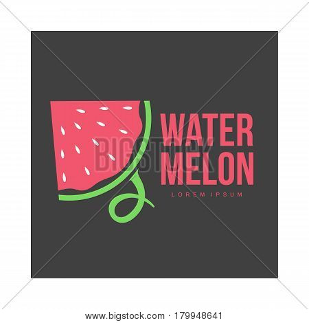 Logo template with side view of stylized triangular watermelon slice, vector illustration isolated on black background. Watermelon logotype, logo design with watermelon slice