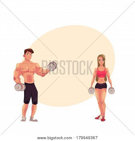 Man and woman bodybuilders, weightlifters working out, training with dumbbells, cartoon vector illustration with space for text. Full length portrait of man, woman bodybuilders with dumbbells