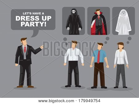 Adults planning for dress up party. Cartoon vector illustration on dress up party costume ideas for adults.