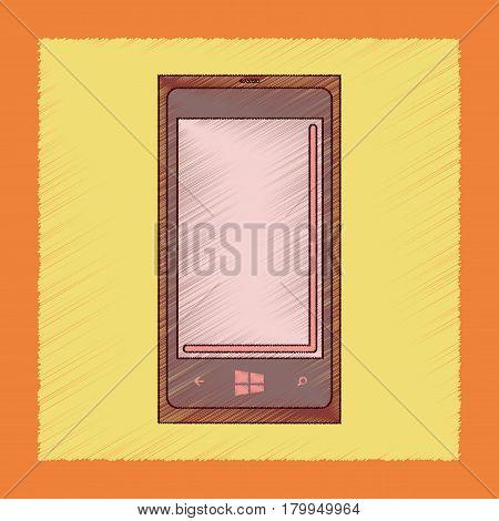 flat shading style icon of mobile phone