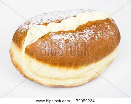 tasty donut with cream on white background