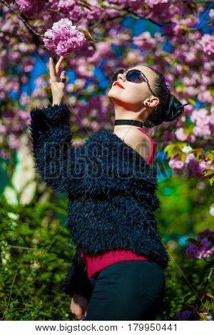 Portrait of young beautiful brunette near blooming sakura tree. Fashion girl in sunglasses.