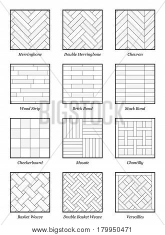 Parquet patterns - collection of most popular flooring samples with names - isolated outline vector illustration on white background.