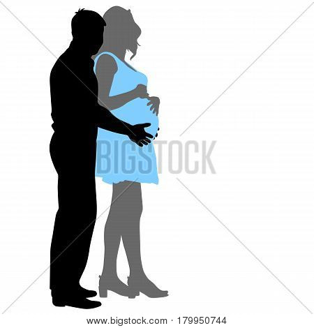 Silhouette Happy pregnant woman and her husband.